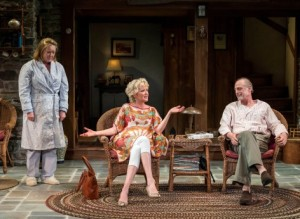 Kristine Nielsen, Christine Ebersole and Mark Blum in VANYA AND SONIA AND MASHA AND SPIKE at the Center Theatre Group's Mark Taper Forum.