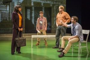 (L-R) Taraji P. Henson, Seamus Mulcahy, Joe Massingill and Kristopher Higgins in ABOVE THE FOLD at the Pasadena Playhouse.