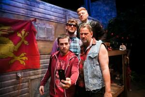"Lee (Paris Hunter Paul), Johnny (Brian Dykstra), Davey (Joshua Schell), Ginger (Ian Scott McGregor) in ""Jerusalem"" at the San Francisco Playhouse."