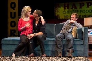 Lee Stark (Suzy), Eric Lynch (Jackson) and Shane Kenyon (Don) in BUZZER by Tracey Scott Wilson, directed by Jessica Thebus at Goodman Theatre.