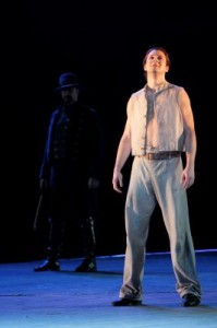 Liam Bonner as Billy Budd with (back) Greer Grimsley as John Claggart in LA Opera's BILLY BUDD.