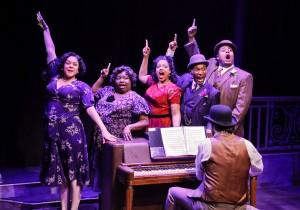 Lina Wass, Robin DaSilva, Shariese Hamilton. Donterrio Johnson, Lorenzo Rush, Jr., and Austin Cook on piano in Porchlight Music Theatre's 'Ain't Misbehavin' at Stage 773