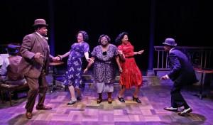 Lorenzo Rush, Jr., Lina Wass, Robin DaSilva, Shariese Hamilton and Donterrio Johnson in Porchlight Music Theatre's 'Ain't Misbehavin' at Stage 773