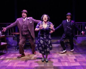 Lorenzo Rush, Jr., Lina Wass and Donterrio Johnson in Porchlight Music Theatre's 'Ain't Misbehavin' at Stage 773