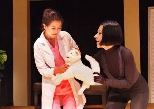 "Minerva Vier and Beatriz Eugenia Vasquez in Casa 0101's production of Josefina López' ""A Cat Named Mercy."""