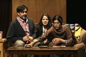 Mother Megha Gavaskar played by Rachna Khatau, daughter Arundhathi Rao played by Mouzam Makkar, and father Archit Gavaskar played by Anjul Nigahm in A NICE INDIAN BOY at East West Players.