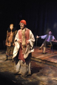 Peggy Ann Blow, Gray Palmer, and Christopher Rivas in Padua Playwright's VILLON at the Odyssey Theatre.