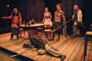 Peggy Ann Blow, Troy Emmet Dunn (on the floor), Alana Dietze, Kevin Weisman, and Geoffrey Dwyer in Padua Playwright's VILLON at the Odyssey Theatre.
