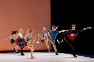 (Right, front to back) Morgan Lugo, Aaron Carr, Nathan Makolandra and (left, front to back) Rachelle Rafailedes, Charlie Hodges, Julia Eichten in Justin Peck's MURDER BALLADES. Photo by LAURENT PHILIPPE.