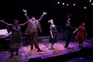 Robin DaSilva, Lorenzo Rush, Jr., Lina Wass, Donterrio Johnson and Sharriese Hamilton in Porchlight Music Theatre's 'Ain't Misbehavin' at Stage 773