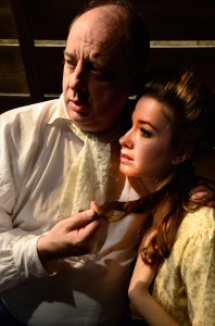Sean Sinitski and Maggie Scrantom in Lifeline Theatre's production of A TALE OF TWO CITIES, adapted by Christopher M. Walsh from Dickens, directed by Elise Kauzlaric.