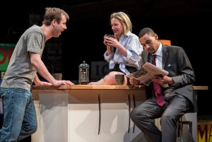 Shane Kenyon (Don), Lee Stark (Suzy) and Eric Lynch (Jackson) in BUZZER by Tracey Scott Wilson, directed by Jessica Thebus at Goodman Theatre.