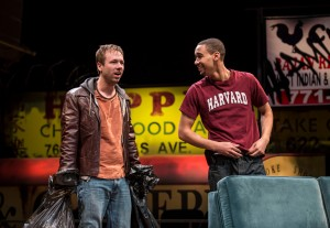 Shane Kenyon (Don) and Eric Lynch (Jackson) in BUZZER by Tracey Scott Wilson, directed by Jessica Thebus at Goodman Theatre.