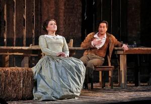 Soprano Tatiana Lisnic is Adina and tenor Giuseppe Filianoti is Nemorino in San Diego Opera's THE ELIXIR OF LOVE.