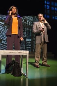 Taraji P. Henson and Arye Gross in ABOVE THE FOLD at the Pasadena Playhouse.