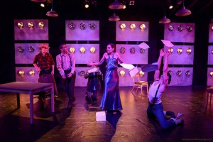 "Will McMichael, Curt Bonnem. Donnelle Fuller, Lauren Campedelli and Matt Valle in ""Bill & Joan"" at Sacred Fools Theater Company."