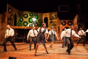 The cast performing the Go-Go-Gorilla in CHICAGO'S GOLDEN SOUL (A 60'S REVUE) at Black Ensemble Theater.