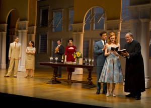 Perry Ojeda, Mary Gutzi, Christopher Newell, Melina Kalomas, David Burnham, Erin Mackey and John-David Keller in South Coast Repertory's 2014 production of The Light In the Piazza, book by Criag Lucas and music and lyrics by Adam Guettel.