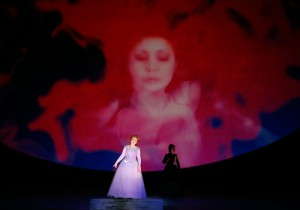 Albina Shagimuratova as Lucia and D'Ana Lombard as Alisain in LA Opera's LUCIA DI LAMMERMOOR.