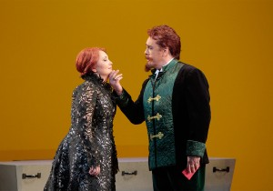 Albina Shagimuratova as Lucia and Stephen Powell as Enrico in LA Opera's LUCIA DI LAMMERMOOR.