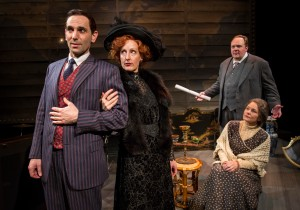 Andrew Rothenberg, McKinley Carter, Michael Aaron Lindner, and Anne Gunn in Chicago Shakespeare Theater's production of ROAD SHOW, directed by Gary Griffin.