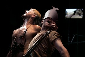 Andrew Schneider and Ari Fliakos in CRY, TROJANS! (TROILUS AND CRESSIDA) by The Wooster Group at REDCAT.