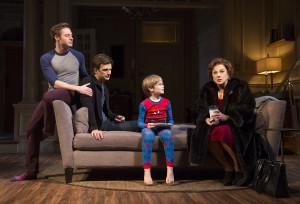 Bobby Steggert, Frederick Weller, Grayson Taylor, and Tyne Daly in a scene from Terrence McNally's MOTHERS AND SONS on Broadway.