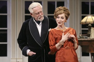 Bruce Davison and Sharon Lawrence in Noël Coward's A SONG AT TWILIGHT at Pasadena Playhouse.