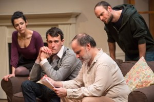 Carl Lindberg (Douglas) and Tom Hickey (Leonard), (back L to R) Atra Asdou (Izzy) and Keith Neagle (Martin) in Haven Theatre Company's production of SEMINAR at Theater Wit.