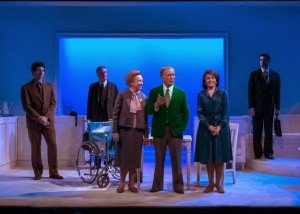 (Center) Roberta Maxwell (Lillian Hellman), Dick Cavett, Marcia Rodd (Mary McCarthy) - (back) Rowan Michael Meyer (Ryan), Peter Brouwer (Lester) and Jeff Woodman (Burt) in Brian Richard Mori's HELLMAN v. MCCARTHY Off-Broadway at Abingdon Theatre.