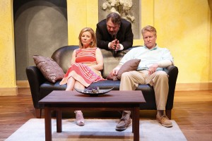 L-R: Michelle Hand, Jason Grubbe, and Steve Isom in DAY OF THE DOG, written by Daniel Damiano, and directed by Milton Zoth, at 59E59 Theaters. Photo by Carol Rosegg.