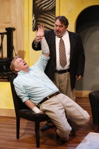 L-R: Steve Isom and Jason Grubbe in DAY OF THE DOG, written by Daniel Damiano, and directed by Milton Zoth, at 59E59 Theaters. Photo by Carol Rosegg.