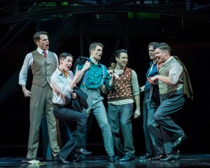 Douglas Williams, Chris Dwan, Shayne Kennon, Matt Bailey, Will Taylor and Will Blum in Barry Manilow's HARMONY at the Ahmanson Theatre, Los Angeles.