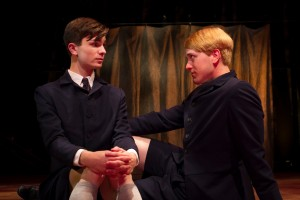 Dylan Mulvaney and Jacob Caltrider in SPRING AWAKENING at Cygnet Theatre in San Diego.