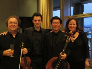 Guillaume Sutre, violin, Steven Vanhauwaert, piano, Tim Landauer, cello, and Elissa Johnston, soprano, perform at Le Salon de Musiques' Season Four, Concert Six, USA PREMIERES.