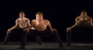 Hubbard Street Dancer Johnny McMillan in SARABANDE by Jiří Kylián, with Jason Hortin, left, and Jonathan Fredrickson. Photo by Todd Rosenberg.