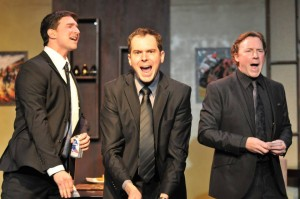 Jake Silbermann, Malcolm Madera and Robert M. Foster in DERBY DAY at Elephant Theatre.