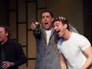 Jake Silbermann, Robert M. Foster and Malcolm Madera in DERBY DAY at Elephant Theatre.
