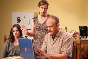 Julia Arian, Kathleen O'Grady, and Mark Rimer in TALHOTBLOND at Ruskin Theatre.