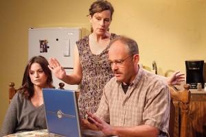 Julia Arian, Kathleen O'Grady, and Mark Rimer in TALHOTBLOND at Ruskin Theatre.