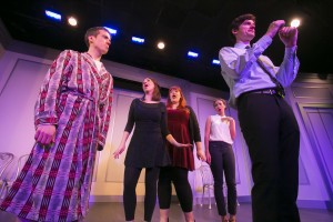 (L-R) John Hartman, Chelsea Devantez, Emily Walker, Tawny Newsome, and Steve Waltien in The Second City's 102nd review, DEPRAVED NEW WORLD.