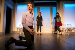 (L-R) John Hartman, Chelsea Devantez, and Emily Walker in The Second City's 102nd review, DEPRAVED NEW WORLD.