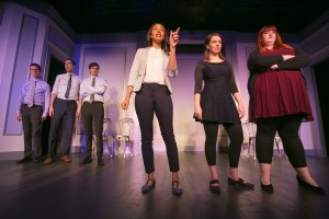 (L-R) John Hartman, Mike Kosinski, Steve Waltien, Tawny Newsome, Chelsea Devantez, and Emily Walker in The Second City's 102nd review, DEPRAVED NEW WORLD.