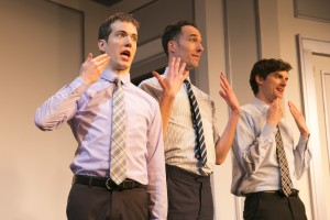 (L-R) John Hartman, Mike Kosinski, and Steve Waltien in The Second City's 102nd review, DEPRAVED NEW WORLD.