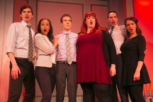 (L-R) Steve Waltien, Tawny Newsome, John Hartman, Emily Walker, Mike Kosinski and Chelsea Devantez in The Second City's 102nd review, DEPRAVED NEW WORLD.