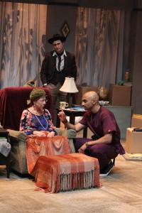(L to R)  Mindy Sterling, Nicholas Cutro (rear) and Usman Ally star in the West Coast Premiere of THE LAST ACT OF LILKA KADISON, directed by Dan Bonnell at the Falcon Theatre.