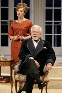 (L to R) Sharon Lawrence and Bruce Davison in Noël Coward's A SONG AT TWILIGHT at Pasadena Playhouse.