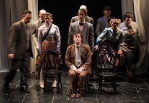 Layne Manzer (center) in TUTA Theatre Chicago's THE JEWELS.