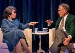 Marcia Rodd (Mary McCarthy) and Dick Cavett (as himself) in Brian Richard Mori's HELLMAN v. MCCARTHY Off-Broadway at Abingdon Theatre.