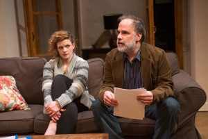 Mary Williamson (Kate) and Tom Hickey (Leonard) in Haven Theatre Company's production of SEMINAR at Theater Wit.